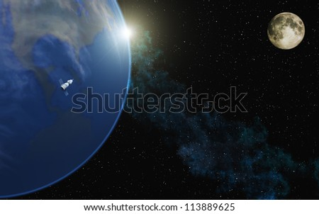 Earth with Moon - stock photo