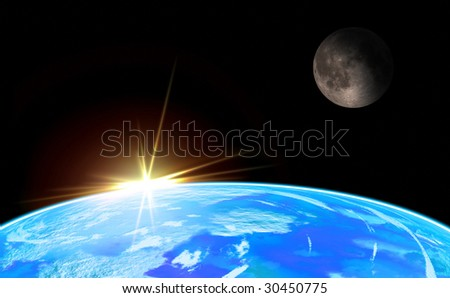 Earth with moon and Rising Sun