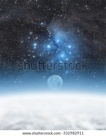 Earth with Moon and starry background. Elements of this image furnished by NASA. - stock photo