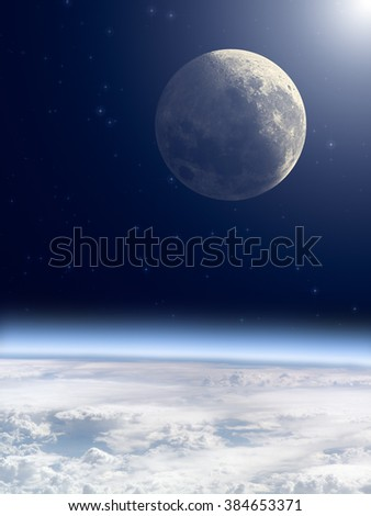 Earth with Moon and starry background. Elements of this image furnished by NASA.