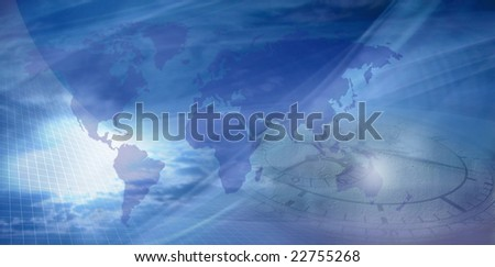 Earth with nice blue background and a clock connotating future or past... - stock photo