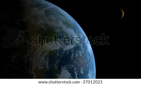earth with orbiting planet in space