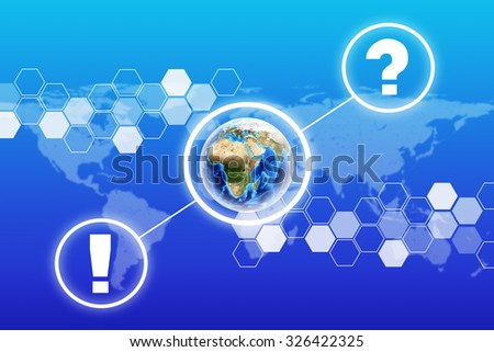 Earth with question mark on abstract blue background with world map. Elements of this image furnished by NASA - stock photo