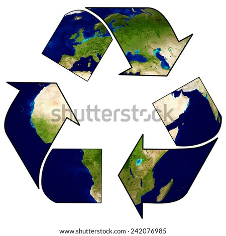 Earth with recycle signs, Arrow around the eco globe. (Elements of this 3d rendered image furnished by NASA) - stock photo