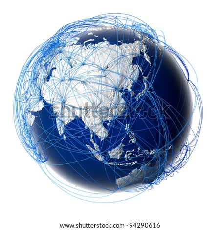 Earth with relief stylized continents surrounded by a wired network, symbolizing the world aviation traffic, which is based on real data on the carriage of passengers and flight directions - stock photo