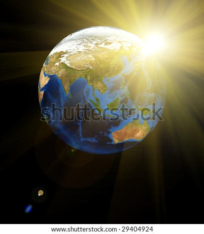 Earth with Rising Sun background. Data source: Nasa - stock photo