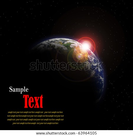 Earth with Rising Sun with Copy space for your text - stock photo