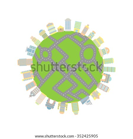 Earth with roads and buildings. Skyscrapers and architectural structures filled planet. Roads cover entire land. Global Total urbanization planet - stock photo