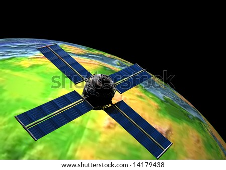 Earth with Satellite In Orbit - stock photo