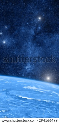 Earth with space wonders. Elements of this image furnished by NASA. Digital illustration. - stock photo