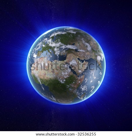 earth with stars and blue light rays - stock photo