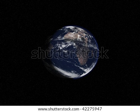 Earth with stars in background - stock photo