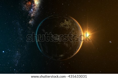 earth with Sunrise from space with milkyway in the backgroud, 3d render. Elements of this image furnished by NASA  - stock photo