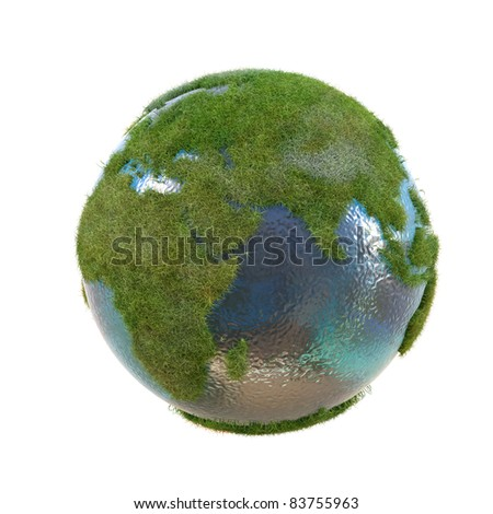earth with the continents covered with green grass. isolated on white.
