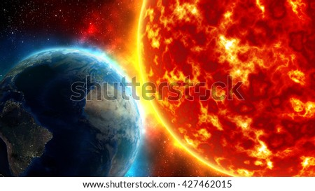 Earth with the sun,  3D rendering and illustration. Elements of this image furnished by NASA