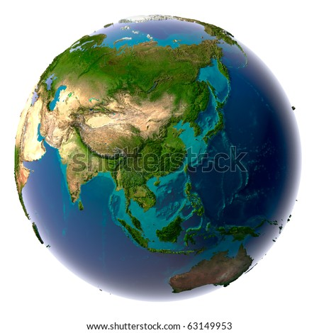 Earth with translucent water in the oceans and the detailed topography of the continents - stock photo