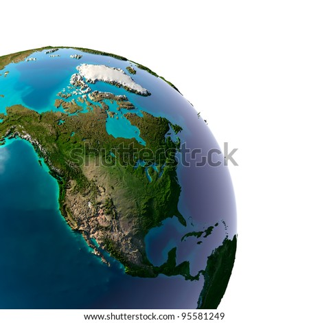 Earth with translucent water in the oceans and the detailed topography of the continents. Detail of the Earth with North America. Isolated on white. - stock photo