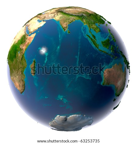 Earth with translucent water in the oceans and the detailed topography of the continents. Indian Ocean - stock photo