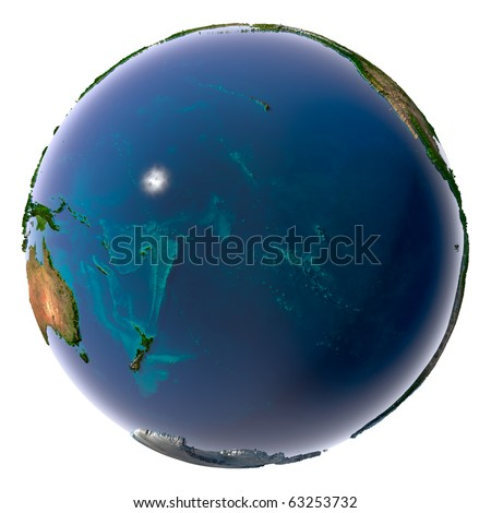 Earth with translucent water in the oceans and the detailed topography of the continents. Pacific Ocean - stock photo