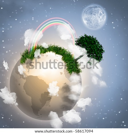 Earth with Tree - stock photo