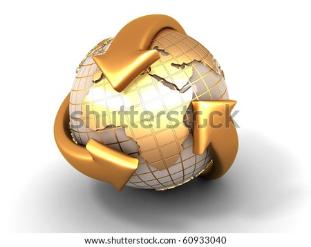Earth with turning arrows. Recycling symbol. 3d - stock photo