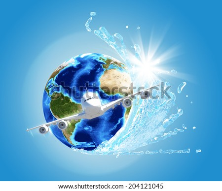 Earth with water and airplane. Elements of this image are furnished by NASA - stock photo