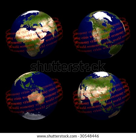 earth with world economic crisis in orbit - stock photo