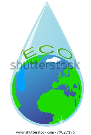 Earth within the drops of pure water. Illustration on a white background. - stock photo