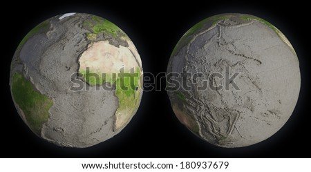 Earth without oceans - seabed terrain - stock photo