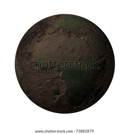 Earth without water and plants, Africa, Europe