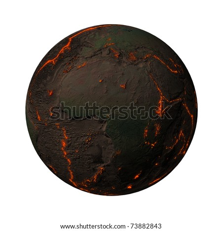 Earth without water and plants, Africa, Europe. Along the tectonic plates cracks with rising magma - stock photo