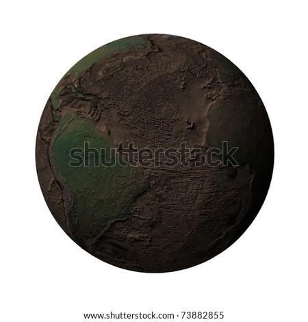 Earth without water and plants, North and South America