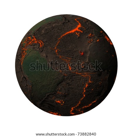 Earth without water and plants, North and South America. Along the tectonic plates cracks with rising magma - stock photo