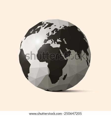 Earth - World Globe Crumpled Paper Illustration - stock photo