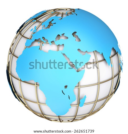 Earth world map. Africa and Europe on a planet globe. 3d illustration - stock photo