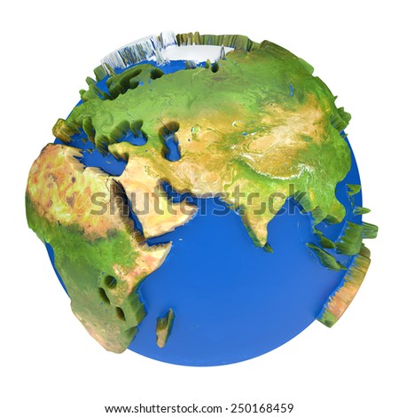 Earth world map.Africa, Europe and  Azia on a planet globe. 3d concept illustration - stock photo