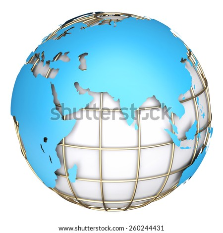 Earth world map.Africa, Europe and Azia on a planet globe. 3d illustration - stock photo