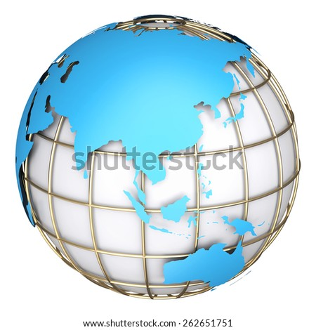 Earth world map.Australia and Asia on a planet globe. 3d illustration - stock photo