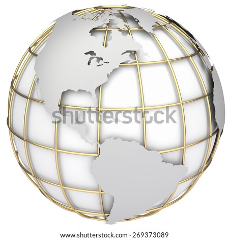 Earth world map. North and South America on a planet globe - stock photo