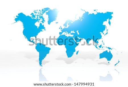 Earth world map on white background