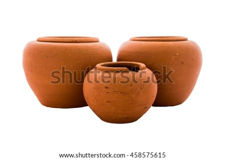 Earthenware in isolated, clay pot isolated. - stock photo
