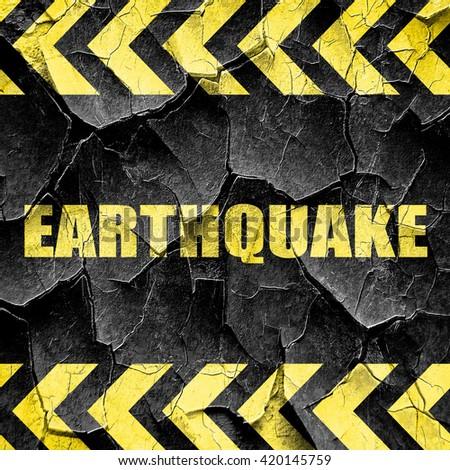 earthquake, black and yellow rough hazard stripes - stock photo
