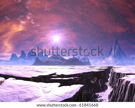 Earthquake Chasm on Alien Ice World - stock photo