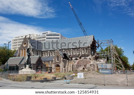 Earthquake damage of historical buildings. Christchurch, New Zealand. - stock photo