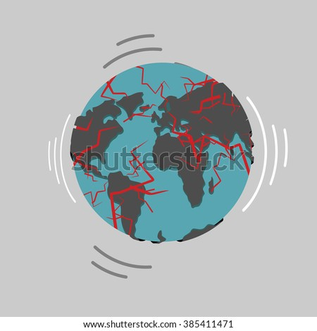 Earthquake. Earth destruction. Disaster fracture of the Earths crust. Destruction of world. Continents planet with cracks. Red magma planets surface. Shattered globe. Apocalypse and disaster world map - stock photo