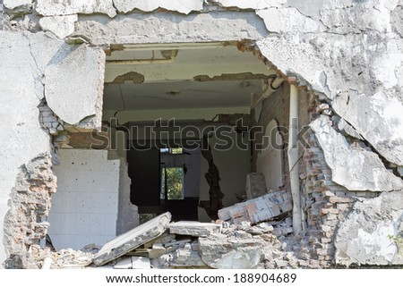 earthquake house - stock photo