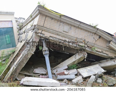earthquake  house after May 12,2008  at beichuan,mianyang,china - stock photo