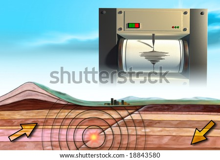 Earthquake schematic showing an earth cross-section and a seismograph. Digital illustration. - stock photo