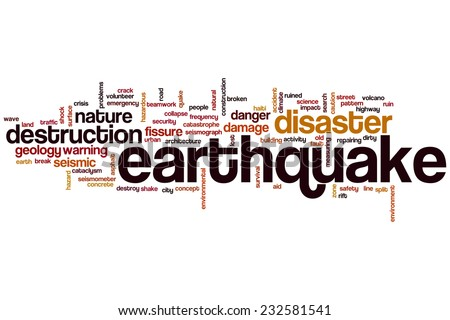 Earthquake word cloud concept - stock photo