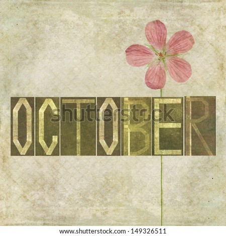 Earthy background and design element depicting the word for the month of October - stock photo
